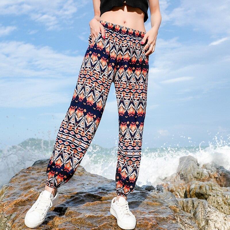 MUMUZI Bohemian printed cotton silk retro style beach   pants   female high waist   wide     leg     pants   female thin flower trousers