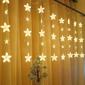 136LEDs gwiezdna zasłona łańcuchy świetlne IP44 bajkowe oświetlenie bożonarodzeniowe Garland łańcuchy świetlne na wesele strona główna dekoracje ogrodowe tanie i dobre opinie Nemobub Star CN (pochodzenie) Curtain String Lights 220 v Rohs 24 big 16 small pearl five stars Copper wire + PC 8 functions
