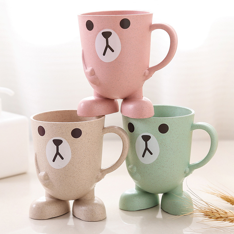 Creative Wheat Straw Cartoon Animal Toothbrush Cup Bathroom Glass Mouthwash Travel Toothbrush Home Bathroom Accessories