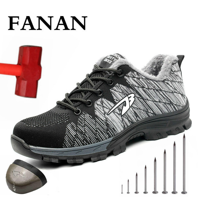 FANAN 2020 Men's Outdoor Mesh Light Breathable Safety Sneakers Big Size Men and Women Safety Puncture-Proof Boots Free Shipping