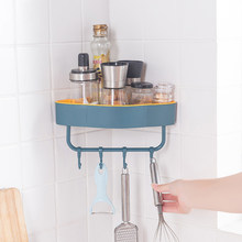 Bathroom Accessories Punch-free Wall Corner Shower Shelf With Hook Bathroom Shelve Shampoo Shower Shelf Kitchen Holder Dropship(China)