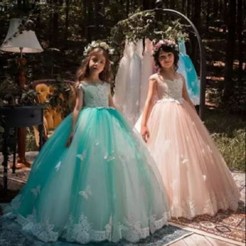 Pageant Red Beading Sash Ball Gown Flower Girl Dresses Kids First Communion for Party Wedding Floor Length Girl Dresses