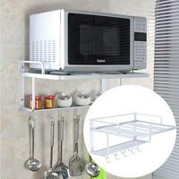 Microwave Oven Storage Holders Racks Aluminum Wall Mounting Bracket Shelf Oven Rack Kitchen Organizer