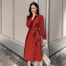 Autumn Woman Elegant Shirtdress Red Lacing Up Belt Waist Design Shift Dress Women Single-breasted Side Slit Shirt Dresses 2019 недорго, оригинальная цена