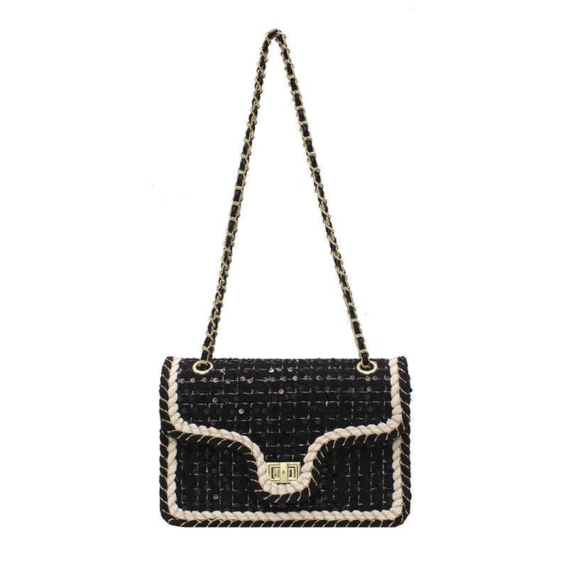 Сумка кросс-боди с клапаном и блестками YL, модная новинка 2020, Высококачественная шерстяная женская дизайнерская сумка, сумка-мессенджер на плечо с цепочкой и замком