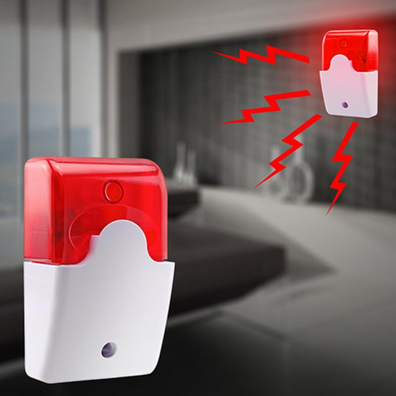 New 1Sets Mini Wired Strobe Siren Durable 12V Sound Alarm Strobe Flashing Red Light Sound Siren Home Security Alarm System 115dB