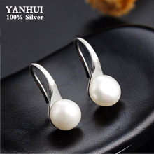 100% Original 925 Sterling Silver Big Natural Pearl Earrings Simple Round White Drop Fine Jewelry For Women ED467