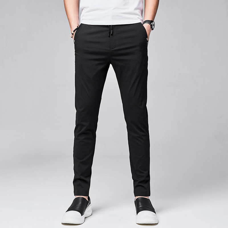 Summer Casual Pants Men's Straight Slim Men Youth Small Suit Pants Handsome Versatile Fashion Elasticity 9998