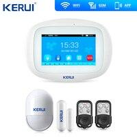 Kerui k52 grande tela de toque wifi gsm sistema de alarme tft display casa sistema de alarme segurança detector movimento metal remoto|Kits de sistema de alarme| |  -