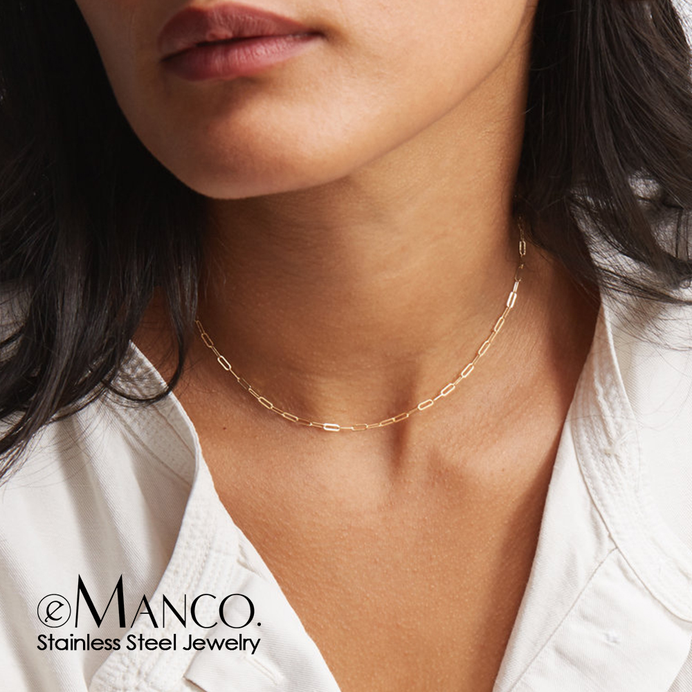 eManco gold stainless steel 316L chain necklace women chain choker for woman brand jewelry