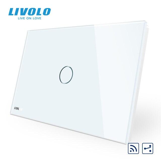 Livolo US C9Standard مفتاح حائط يعمل باللمس ، مقاطعة مع مؤشر LED ، جهاز التحكم عن بعد ، لوحة زجاج كريستال