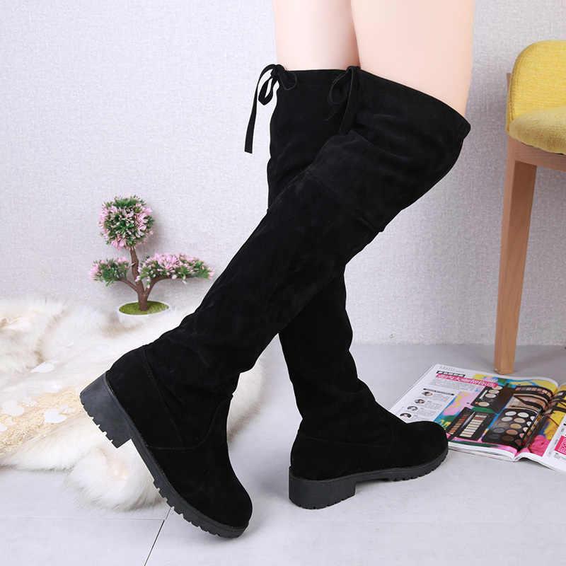 גודל 35-41 חורף מעל הברך מגפי נשים למתוח בד ירך גבוהה סקסי אישה נעלי ארוך בוטה Feminina zapatos de mujer