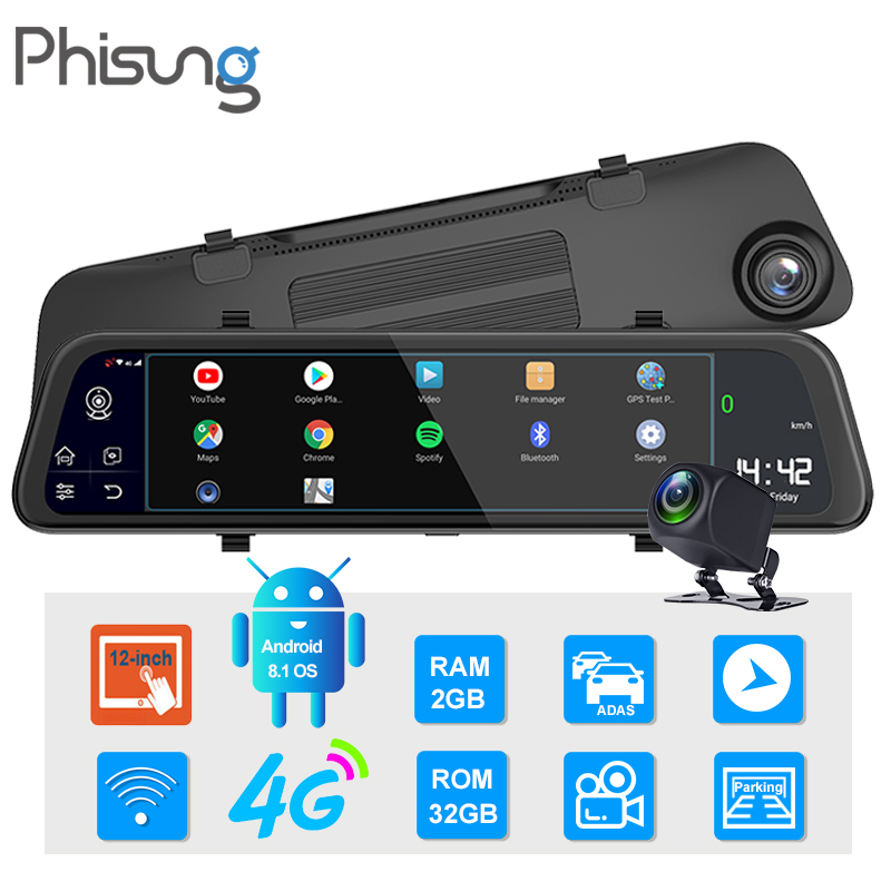 Phisung 11,66 4G видеорегистратор Android 8,1 зеркало для автомобиля dvr камера RAM2G ROM32G gps навигация видео регистратор ADAS wifi Dual1080P видеорегистраторы