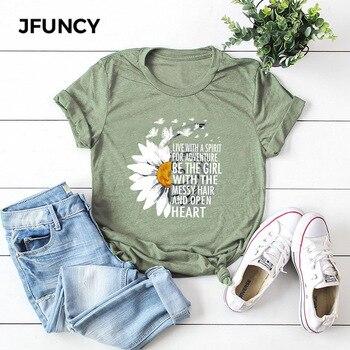 JFUNCY 2021 New Summer Cotton Women T-shirts Creative Chrysanthemum Inspirational Letter Print T Shirt Plus Size Mujer Tee Tops - discount item  39% OFF Tops & Tees