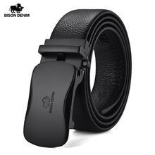 BISON ceinture en cuir véritable pour hommes, ceinture de luxe, en cuir de vache, boucle automatique, ceinture de marque, N71345