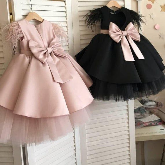 Real Photos Girls Pink Celebration Dresses Cap Sleeve Feather Cap Sleeve Baby Birthday Dresses Christening Dresses With Big Knot