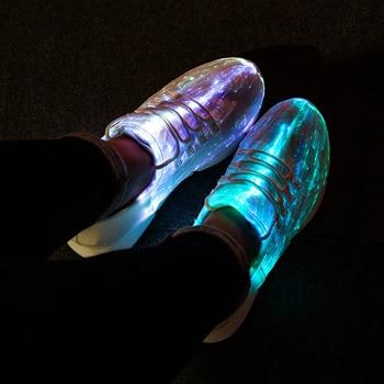 UncleJerry taille 25-47 chaussures Led d'été   Chaussures en Fiber optique, pour filles, garçons, hommes et femmes, baskets lumineuses par Recharge USB, chaussures d'éclairage, nouvelle collection