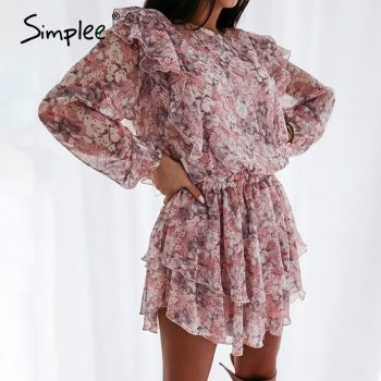 Simplee women floral print dress Elegant puff sleeve a line chiffon sash dress High waist work