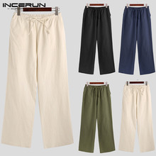 Men Full Cotton Plain Straight-leg Pants Pure Color Chinese Baggy Pockets Lacing Wide Leg Trousers Men's Brand Pant INCERUN 2020