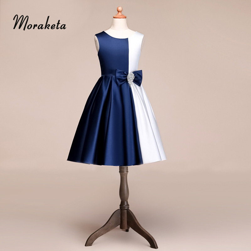 A-line Princess Tea-length White And Blue Junior Bridesmaid   Dresses   For Wedding Party 2019 New   Flower     Girl     Dresses