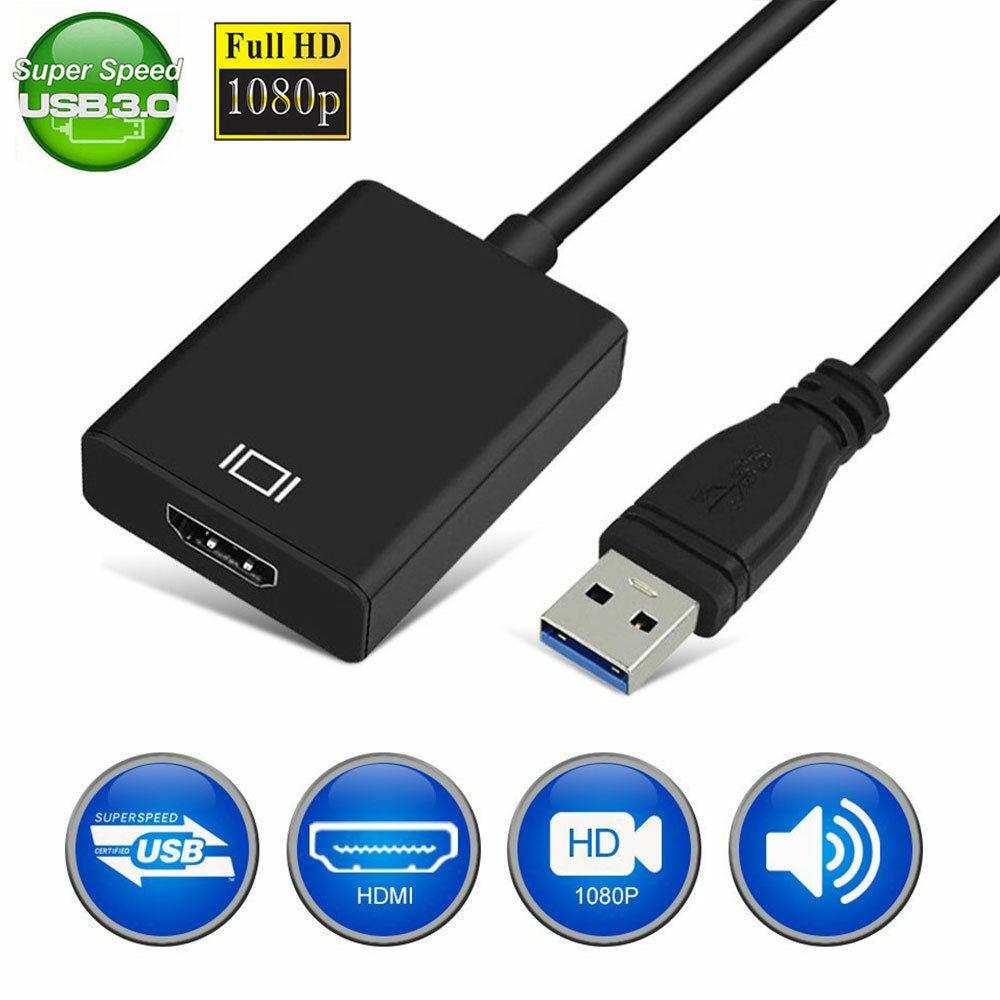 Adaptateur Audio-vidéo femelle, USB 3.0 à HDMI, câble de convertisseur pour fenêtres 7/8/10 PC