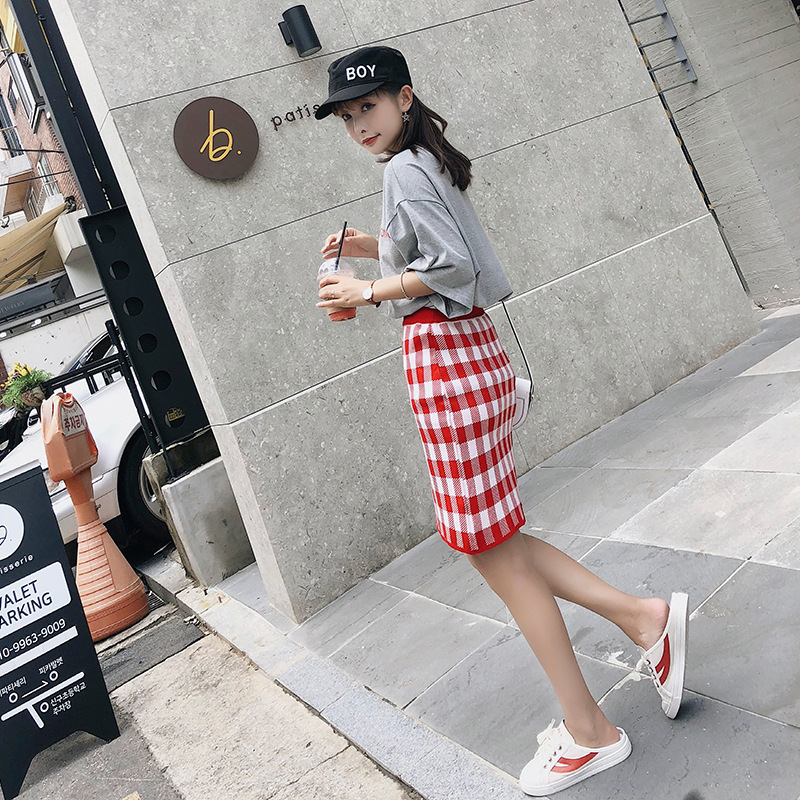 [Dowisi] Korean-style Fashion WOMEN'S Suit Loose-Fit Middle Sleeve T-shirt High-waisted Plaid Skirt Two-Piece Set F5164