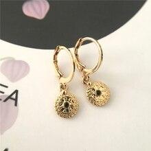 Модные ювелирные изделия черный камень круглый диск Шарм серьги-кольца золотое покрытие