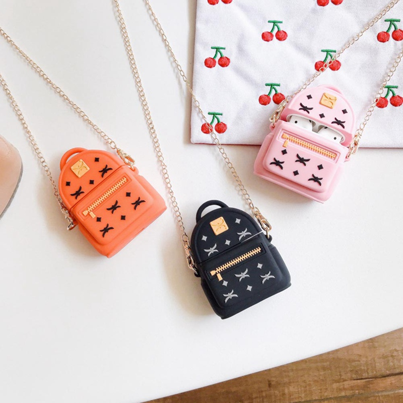 Fashion Cute Backpack Silicone Case For Airpods Earphone Wireless Bluetooth Headset Protective Sleeve Cover Accessories