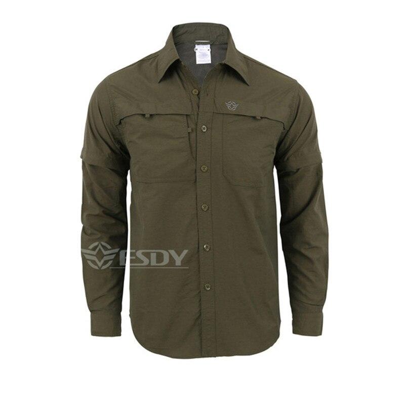 Мужская быстросохнущая рубашка на открытом воздухе Съемная с длинным/коротким рукавом дышащая походная Военная Маскировочная рубашка Спортивная одежда - Цвет: green