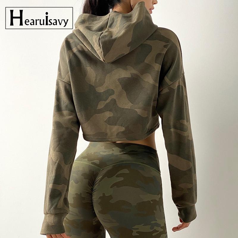 Women Camouflage Running Jacket Hooded Gym Sport Sweatshirts Femme Jogger Fitness Hoodie Long Sleeve Yoga Shirts Crop Top