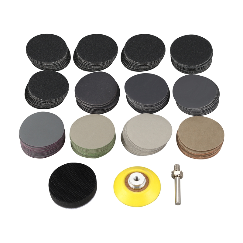 180 Pcs 2 Inch Sandpaper Wet Dry Sander Sheets With Backer Plate 1/4 Inch Shank And Soft Foam Buffering Pad For Wood Metal Mirro