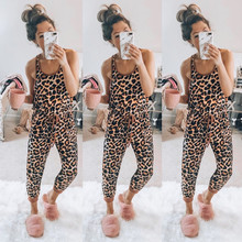 Hot Sale Overalls For Women Summer Sexy Leopard Print Sleeveless Jump Suit Elastic Waist Long Jumpsuits Playsuit Ropa Mujer #25