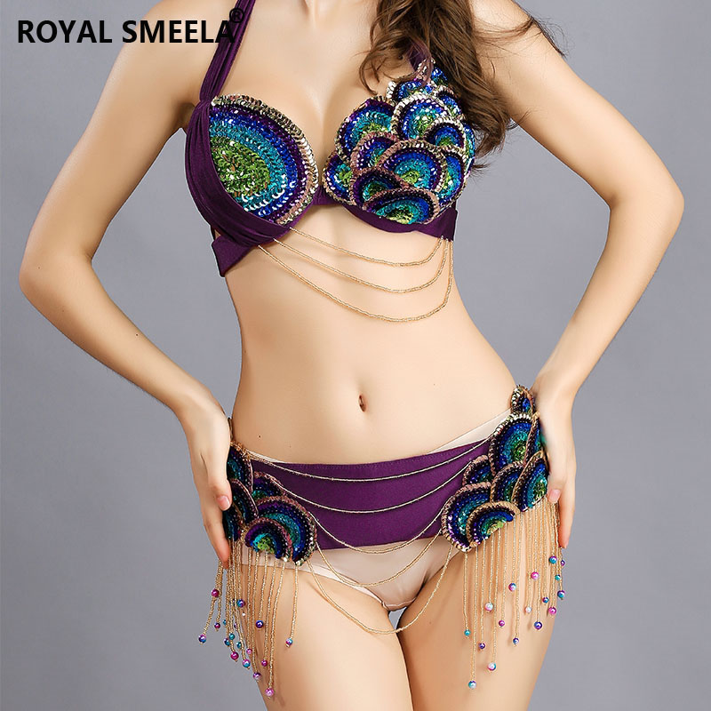 2019 Free Shipping Belly Dance Costume Clothes Oriental Bellydance Beaded Top Bra & Belt 2 Pcs Set Outfit Three Colors--8818