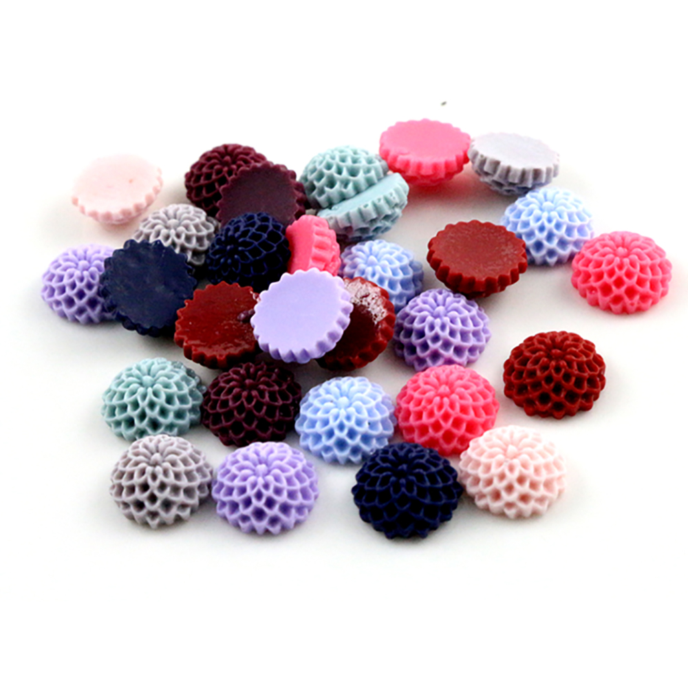 New Fashion 40pcs 12mm Mix Color Melaleuca Flowers Style Flat Back Resin Flower Cabochons Cameo  G7-12