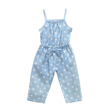 1-5T girls jumpsuit for kids overalls for girls baby blue polka dots playsuit one piece summer outfit toddler girls clothes