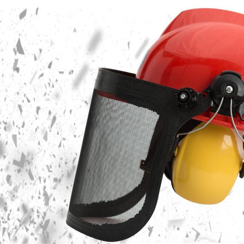 H5ed491d701ba4ceabd083dce2ef0b3495 Full Face Mesh Grass Trimmer Helmet Outdoor Protective Mask Metal Visor Workplace Garden Ear Defenders 180 Degrees Adjustable