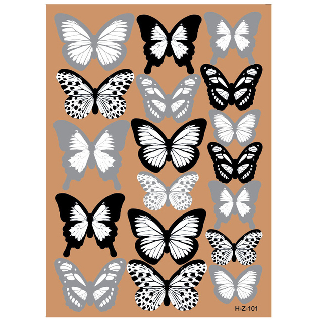 18pcs Black And White 3d Effect Crystal Butterflies Wall Sticker Beautiful Butterfly for Kids Room Wall Decals Home Decoration