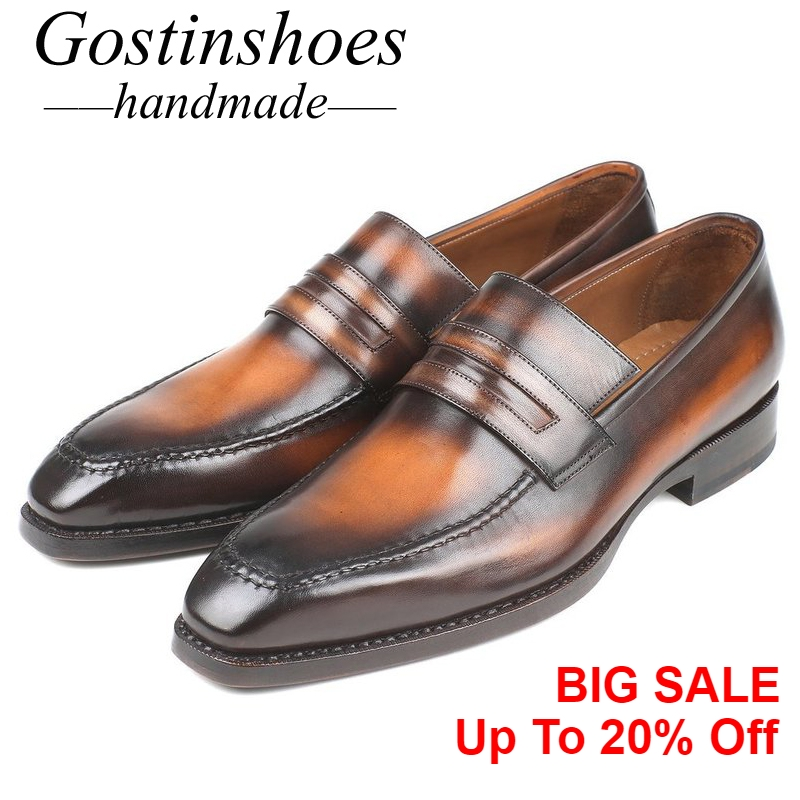 GOSTINSHOES HANDMADE Luxury Mens Loafers Brown Hand-Painted Slip-On Genuine Leather Goodyear Welted Casual Shoes Men SCT02