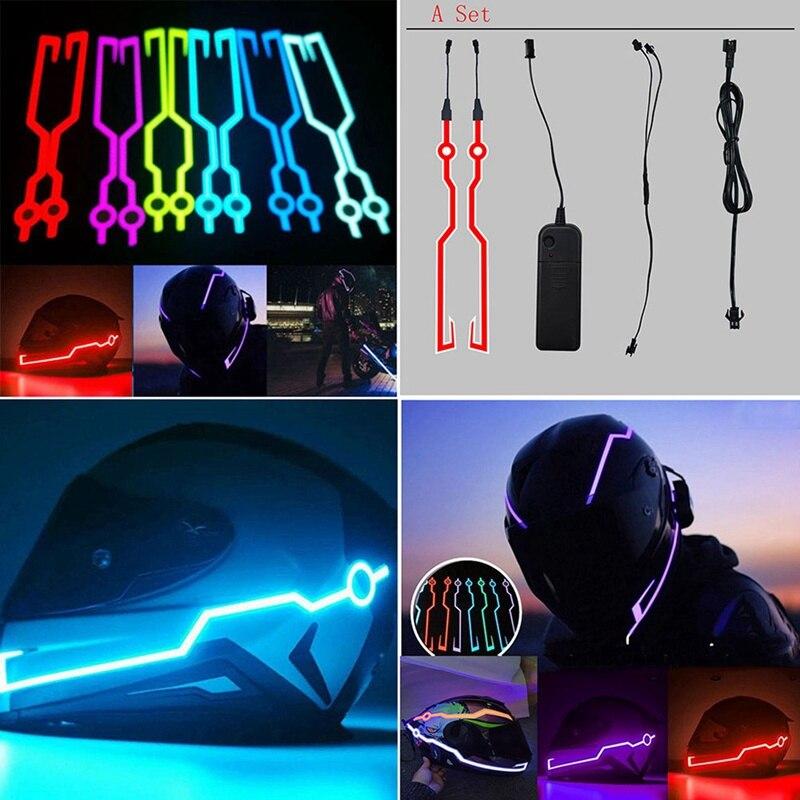 Neue Motorrad Helm Licht LED DIY Schwarz Helm LED Licht Motorrad Sicherheit Reflektierende Streifen Änderung