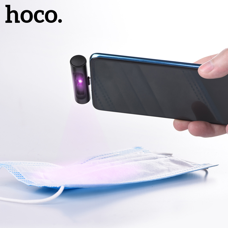 HOCO Mini Portable UVC Disinfection UV LED Light Mobile Phone USB Interface Plug Power Handheld Sterilize UVC 270nm For Xiaomi
