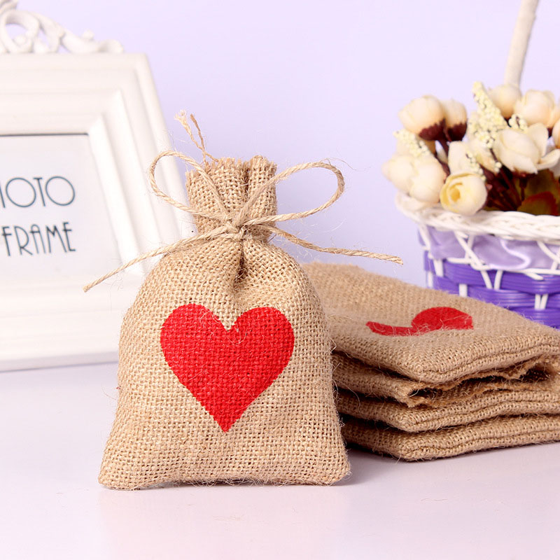 5pcs 10x14cm Natural Crude Jute Bags Candy Bags For Wedding Party Favors Pouch Party Favor Gift Pouch Bag Heart