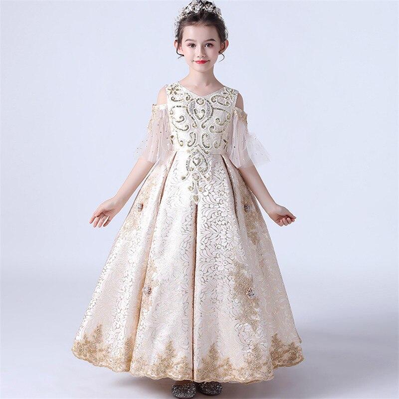 Children Girls Exquisite Hand-made Embroidery Flowers Birthday Wedding Party Princess Dress Children Model Catwalk Host Dress