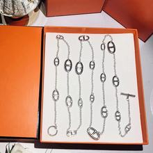 2019 New Brand silver color Stainless steel fashion  jewelry chain sweater chain necklace 120cm