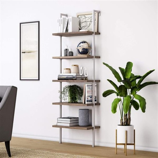 Bookshelf Bookcase 5-Tier Modern Ladder Shelf Multipurpose Storage Rack Industrial Metal Frame Sturdy Easy Install[US-Stock] 2