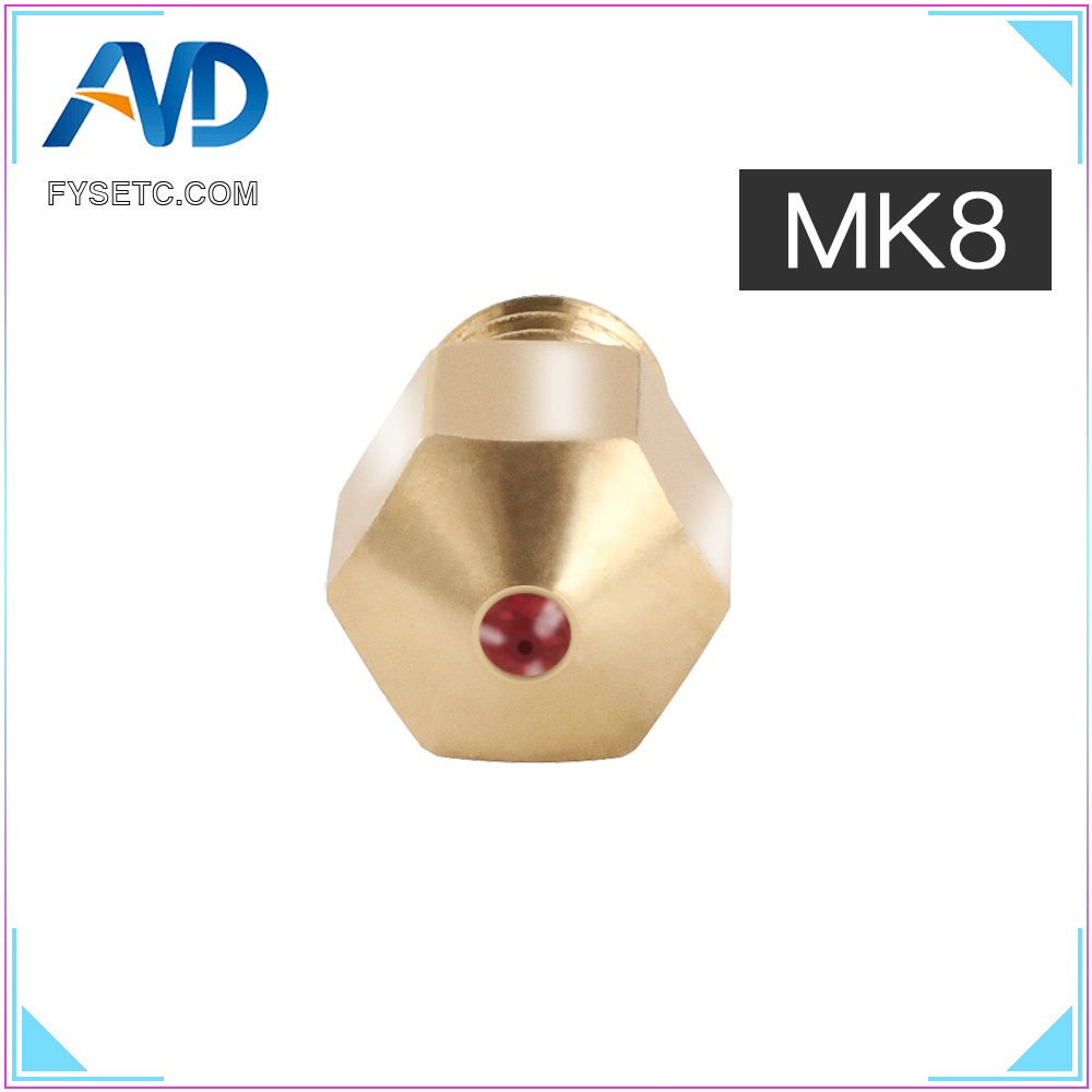 MK8 Ruby Nozzle 1.75mm Nozzles 0.4mm High Temperature Ruby MK8 Nozzle For PETG ABS PET PEEK NYLON PRUSA I3 ENDER CR10 Hotend