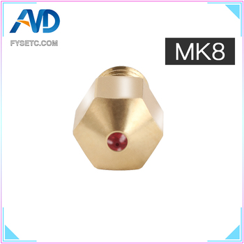 MK8 Ruby Nozzle 1.75mm Nozzles 0.4mm High Temperature Ruby MK8 Nozzle For PETG ABS PET PEEK NYLON PRUSA I3 ENDER CR10 Ho