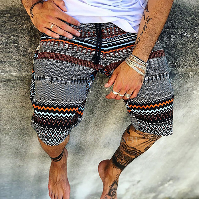 Summer Beach Boho Print Fashion Men Shorts Carnival Party Outdoor Sport Loose Pants India Pakistan Casual Bottoms Africa Clothes