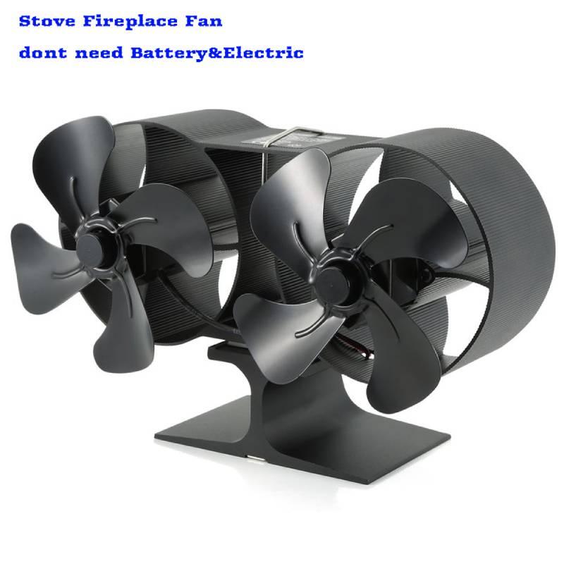 4/8 Blades Heat Powered Fireplace Stove Fan Log Wood Burner Ecofan Quiet Black Home  Fan Efficient Heat Distribution