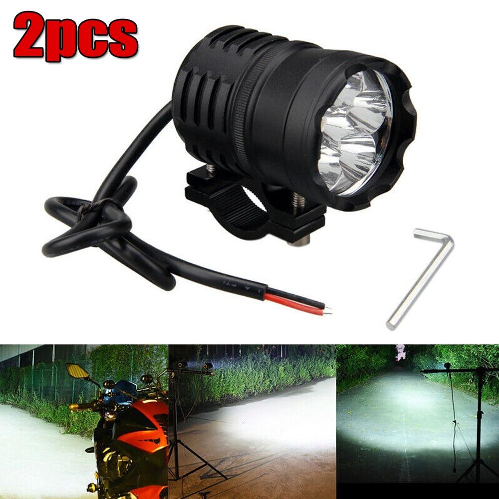 2pcs Motorcycle LED Spot Light Driving Headlight 12V-80V Fog Head Lamp Switch 60W High Low Luminance Flashing Light