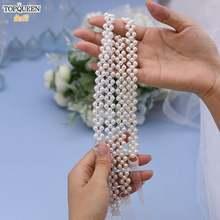 Пояс topqueen s34 с бусинами для свадебного платья цвет слоновой